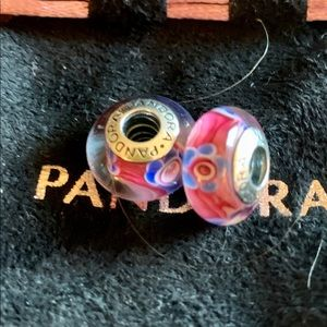 Pandora pink and blue flower charms
